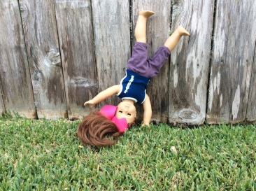 Felicity American Girl Doll Doing a Cartwheel