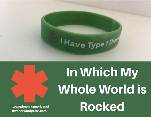 Diabetes Medical Alert Bracelet and Text That Says In Which My Whole World is Rocked